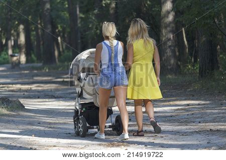 Two women with a carriage walk in the park. People