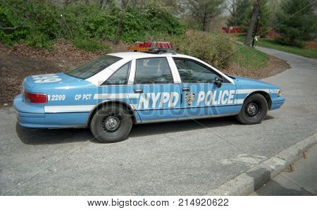 New York, NY, USA, Circa 1996 - Police Car on patrol in Central Park