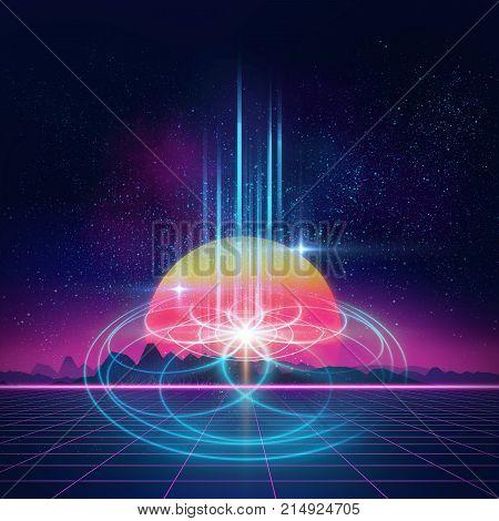 Sacred Geometry Symbols And Elements Background. Alchemy, Religion, Philosophy,