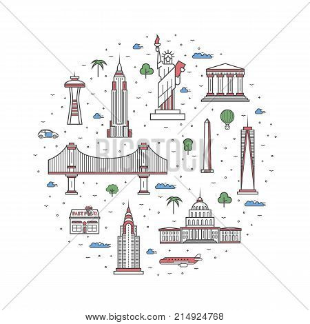 USA travel poster with national architectural attractions. Historic american famous landmarks and traditional symbols on white background. Touristic advertising vector layout in trendy linear style.