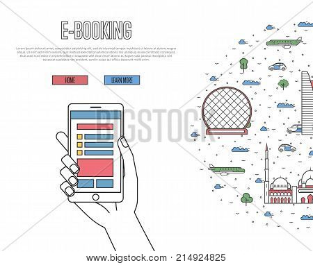 Online tickets ordering poster with Abu Dhabi famous architectural landmarks in linear style. E-booking vector with smartphone in hand, mobile payment. World traveling, UAE historic attractions.