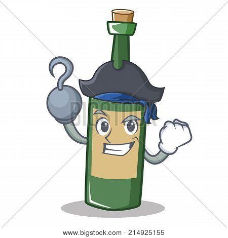 Pirate wine bottle character cartoon vector illustration