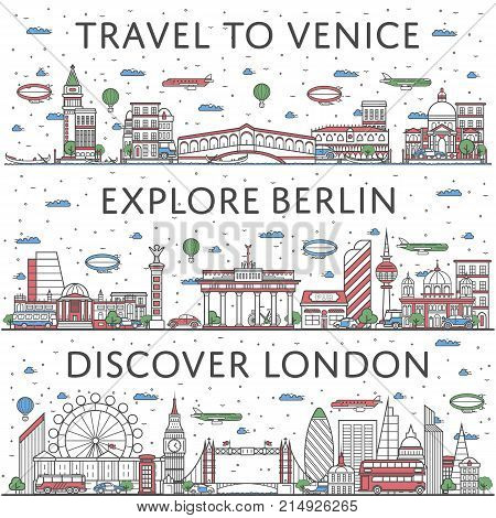 European traveling posters with Berlin, London and Venice city panoramas in linear style. Touristic tour advertising, famous world architectural attractions. Global tourism, time to travel concept.