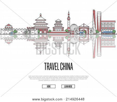 Travel China poster with national architectural attractions in trendy linear style. Chinese famous landmarks and traditional symbols on white background. Asian tourism and journey vector concept.