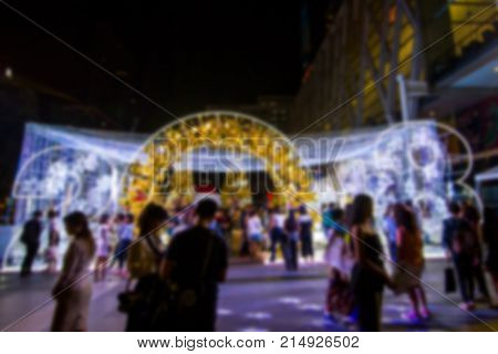 Blurred - Bangkok Thailand:- Nov18,2017:- Christmas trees adorn and Strap Accessories Ornaments Christmas with gift box on Christmas the front of the World Trade Center,  Many people are happy. In the Christmas