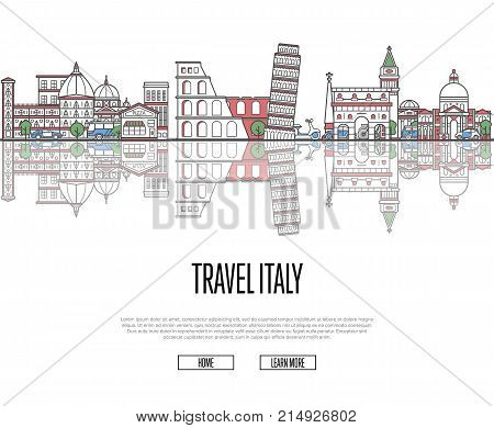 Travel tour to Italy poster with famous architectural attractions in linear style. Worldwide traveling and time to travel concept. Italian panorama with landmarks, tourism and journey vector banner