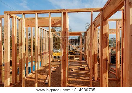 wooden roof construction, for home, house building The house is new in wood