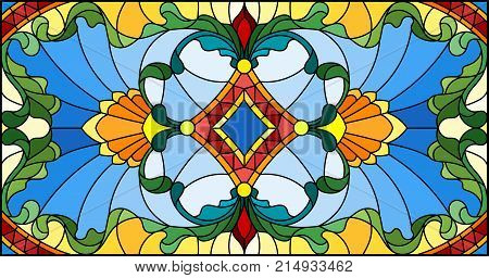 Illustration in stained glass style with abstract swirlsflowers and leaves horizontal orientation