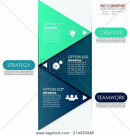 Vector abstract element infographics 3 option. Design for business or finance template layout brochure workflow information or presentation and other. Can add infodata and icon. Abstract 3D vector.