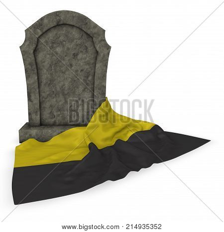 gravestone and flag of saxony-anhalt - 3d rendering