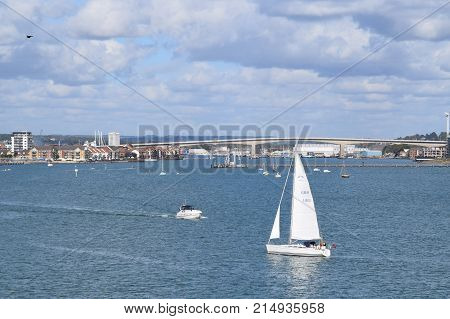 Sail Boat, near Portsmouth Harbor, England Untied Kingdom