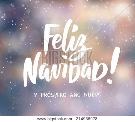 Feliz Navidad y Prospero Ano Nuevo - spanish Merry Christmas and Happy New Year text. Hand drawn letters, holiday greetings. Blurred winter background. Falling snow. For cards, posters, gift tags.