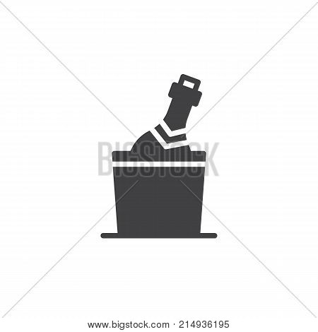Champagne bottle in a bucket with ice icon vector, filled flat sign, solid pictogram isolated on white. Symbol, logo illustration