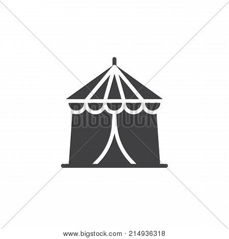 Circus tent icon vector, filled flat sign, solid pictogram isolated on white. Carnival fast food cart symbol, logo illustration