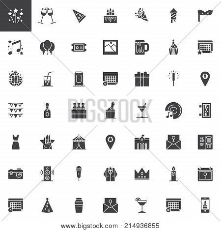 Event, celebration vector icons set, modern solid symbol collection, filled style pictogram pack. Signs, logo illustration. Set includes icons as calendar, cupcake, party card, fireworks, champagne