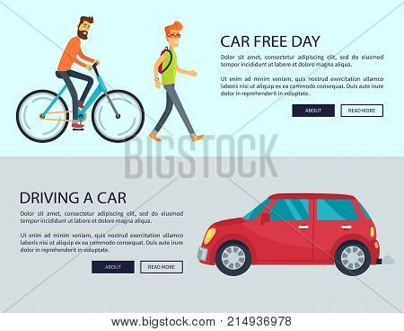 Car Free Day and driving cars disadvantages web page design. Vector illustration contains auto, pedestrian with backpack and man riding bicycle