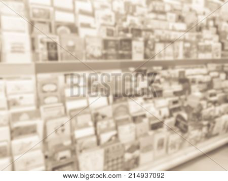 Blurred Christmas Cards Display At Retail Store In America