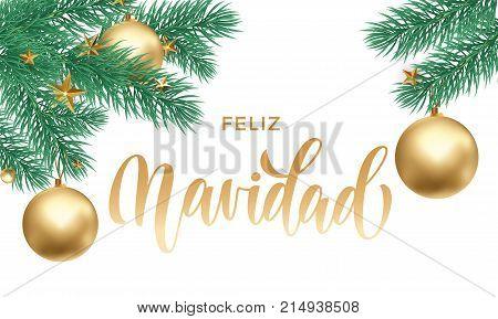 Feliz Navidad Spanish Merry Christmas Holiday Golden Hand Drawn Calligraphy Text For Greeting Card O