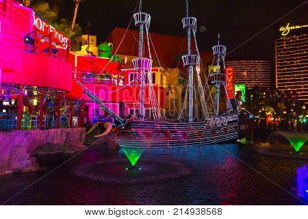 Las Vegas, United States of America - May 07, 2016: The outdoor live free show The Sirens of Treasure Island in Las Vegas, Nevada on May 07, 2016. The show presents several times nightly with a large cast of stunt performers.