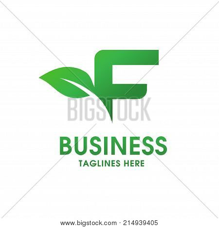 letter F eco logo isolated on white background. Organic bio logo with a leaf of sprout grass for corporate style of company or brand on letter F