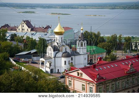 NIZHNY NOVGOROD, RUSSIA - AUGUST 27, 2015: View of the Church of the Icon of Our Lady of Kazan in the August cloudy day