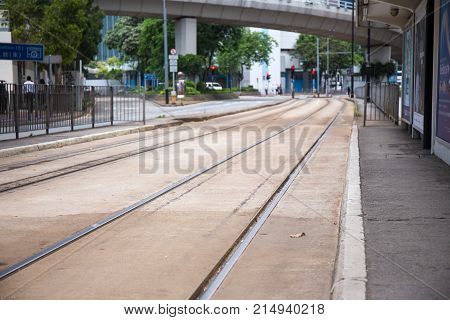 North Point Hong Kong S.A.R. - July 13 2017: Double track Tramways on the 73E Tin Chiu street tram stop at Nort Point. Hong Kong tram or Ding Ding is one of the earliest forms of public transport in the metropolis