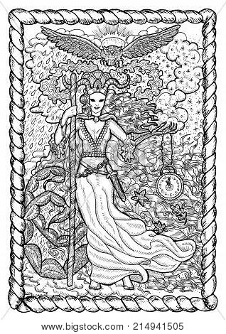 November month graphic concept in frame. Hand drawn engraved illustration. Scary queen of Autumn with clock in skeleton hand against the background of rain and snow