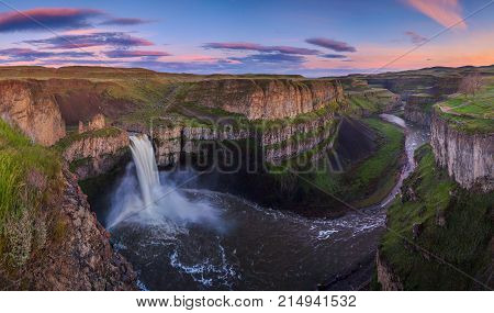 The Palouse Falls in Washington, USA at sunrise