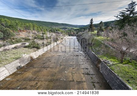 Spillway of the El Vado Reservoir located in the upper course of the River Jarama in Guadalajara Province Spain