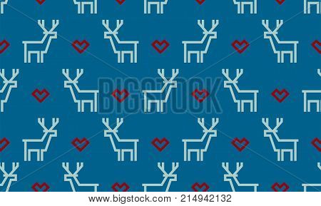 Christmas Pattern Background Of Seamless Deer Reindeer And Red Heart. Vector White Deer Pattern On B