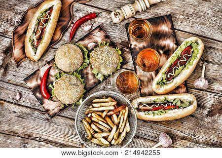 Fast-food, Food Festival. Food Buffet Catering Dining Eating Party Sharing Concept. Food Festival. A