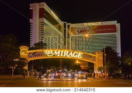 Las Vegas, United States of America - May 07, 2016: Mirage Hotel and Casino at night at Las Vegas, United States of America on May 07, 2016 at the Strip in Las Vegas, Nevada