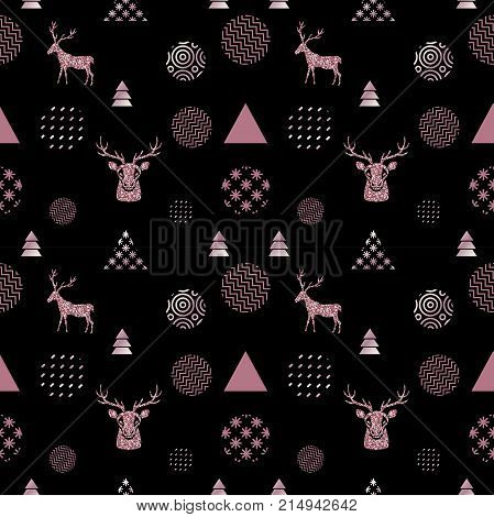 Reindeer geometric trendy seamless pattern with animal silhouette, gold rose glitter texture, winter holidays scandinavian minimal pattern, vector background