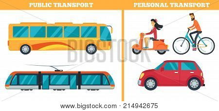 Public and personal transport represented by train, yellow bus, moped with bicycle and car. Vector illustration of different types of city transport