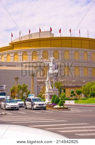 Las Vegas, United States of America - May 05, 2016: The Caesars Palace hotel at Las Vegas, United States of America on May 05, 2016. Caesars Palace is a luxury hotel and casino located on the Las Vegas Strip. Caesars has 3, 348 rooms in five towers