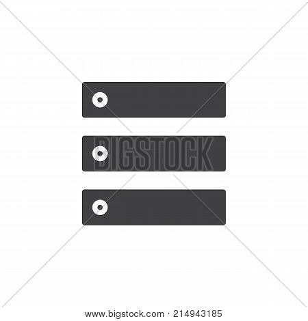 Data center, server icon vector, filled flat sign, solid pictogram isolated on white. Database symbol, logo illustration.