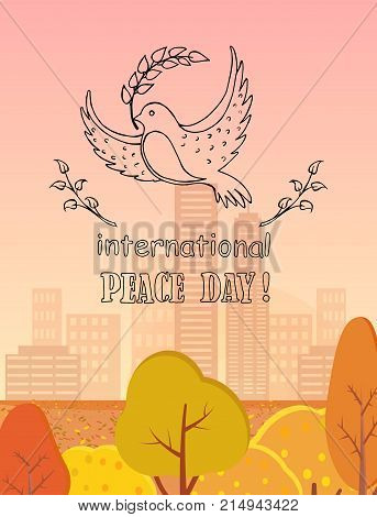 International peace day vector illustration with dove holding twig in beak. Pigeon with symbol of harmony and love on background of autumn city buildings