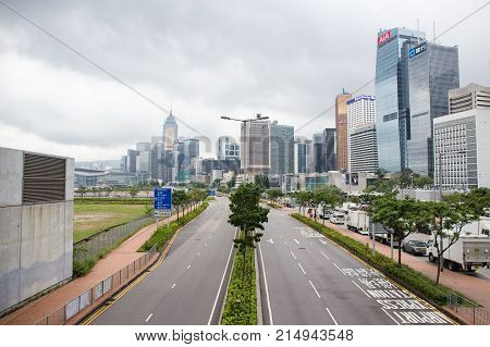 Central Hong Kong - September 5 2017.Lung Wo Road is a road between Central and Wan Chai Hong Kong. Central business district is the commercial and business centre of a Hong Kong