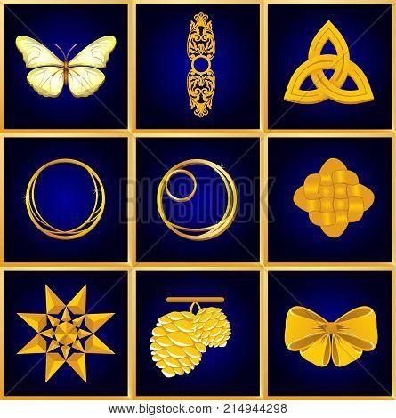 Golden objekts on the dark blue background