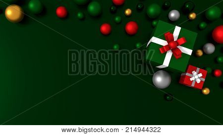 3d green gift box  tied with a white satin ribbon bow. and color balls on green background.for Christmas and new year