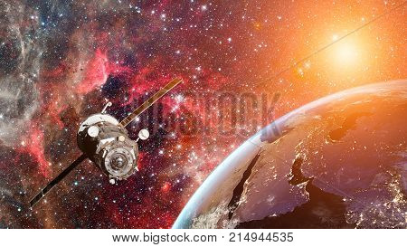 Cargo Spaceship In The Space. Elements Of Earth On This Image Furnished By Nasa.