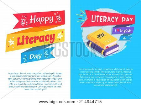 Happy literacy day set of poster with text I love English, textbooks on blue background, greeting cover design vector illustration
