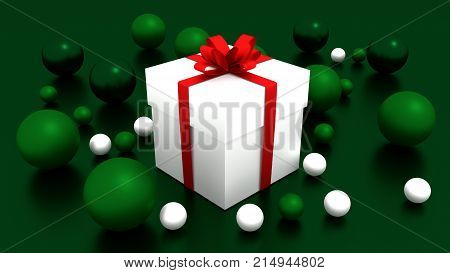 3d white gift box  tied with a red satin ribbon bow. and green balls on green background.for Christmas and new year