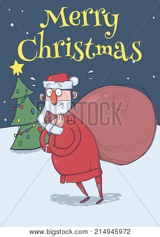 Christmas card of funny confused Santa Claus with big bag in the snowy night in front of Christmas tree. Santa looks lost. Vertical vector illustration. Cartoon character. Lettering. Copy space.