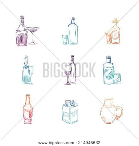 Colorful sketch alcohol and non alcohol drinks set. Vector illustration