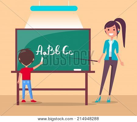 Language class in primary school banner. Boy study alphabet at lesson, teacher stands with pointer, pupil writes ABC on blackboard