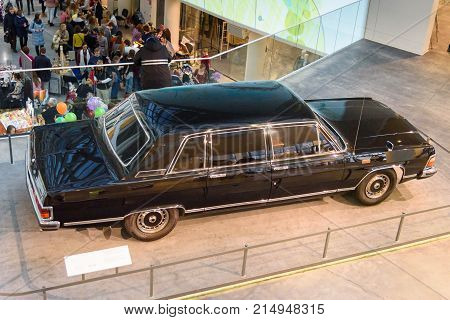 Yekaterinburg Russia - 11 November 2017: Boris Yetsin's personal luxury limousine GAZ Chaika. Interier of Boris Yeltsin Presidential Center is social cultural and educational center. It was open in 2015