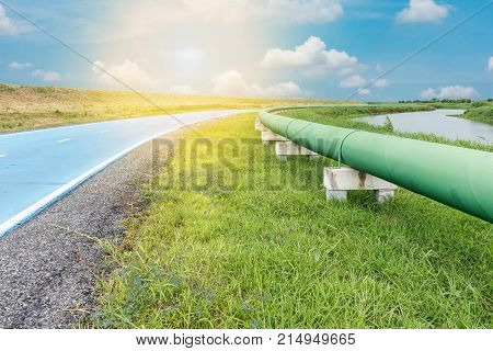 Raw water pipeline and distribution parallel of the road.