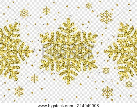 Christmas Golden Snowflake Glitter Pattern White Background Vector Gold Shine Sparkle Snow Decoratio