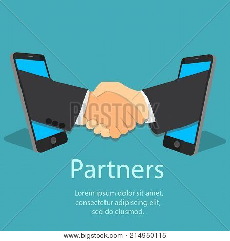 Vector illustration of mobile partnership concept. Handshake frome one mobile phone to another. Mans handshake. Business partners